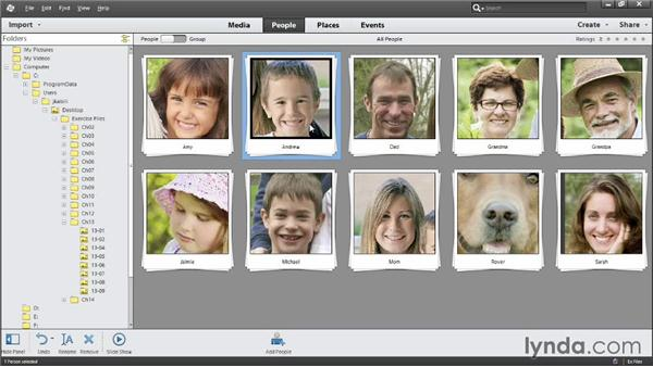 Viewing photos in People view: Photoshop Elements 12 Essential Training