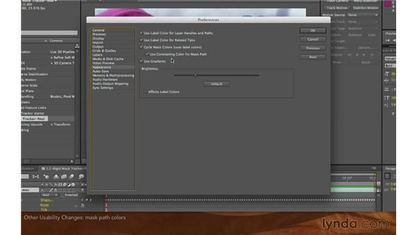 Other usability changes: After Effects: Creative Cloud Updates