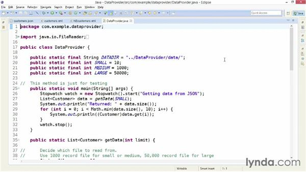 Exploring the sample data provider project: XML Integration with Java
