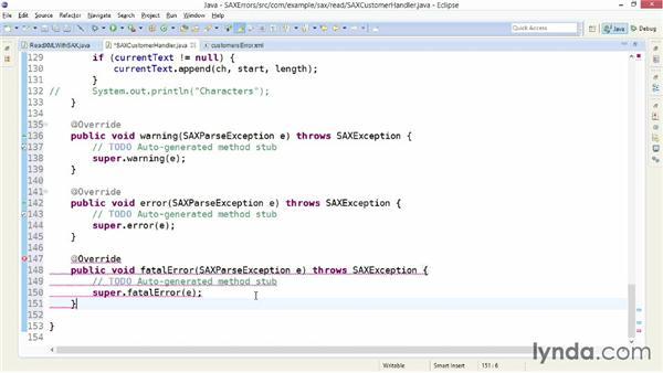 Handling parsing errors in SAX: XML Integration with Java
