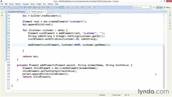 Adding data elements and attributes with DOM: XML Integration with Java