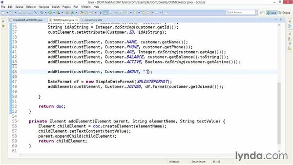 Wrapping text in CDATA sections with DOM: XML Integration with Java
