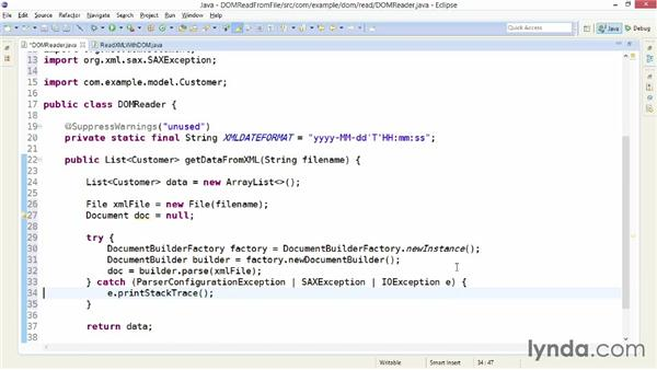 Reading an XML file with DocumentBuilder: XML Integration with Java