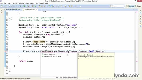 Getting data from XML with DOM: XML Integration with Java