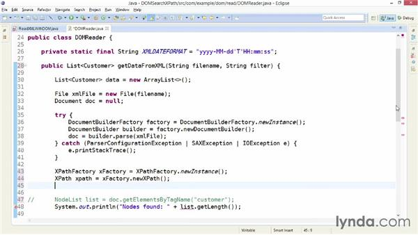 Searching a DOM object tree with XPath: XML Integration with Java