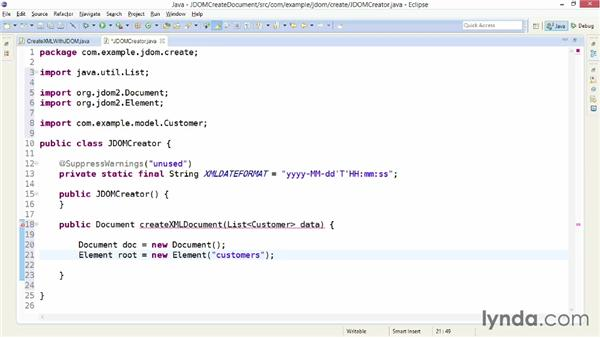 Creating an XML document with JDOM: XML Integration with Java