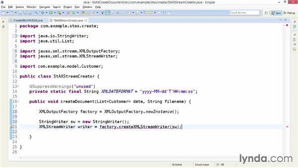 Creating an XML string with XMLStreamWriter: XML Integration with Java