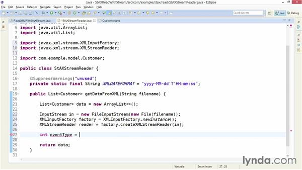 Getting data from XML with XMLStreamReader: XML Integration with Java