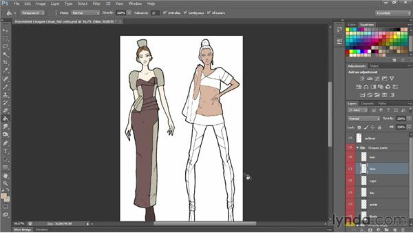 Filling with flat color: Photoshop for Fashion Design: Rendering Techniques