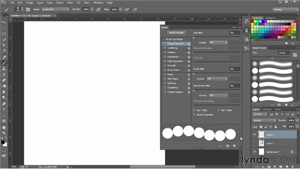 Creating a graduated bead brush with Shape Dynamics: Photoshop for Fashion Design: Rendering Techniques