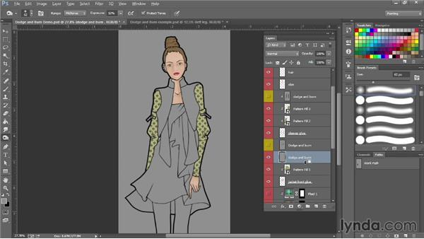 Dodging and burning pattern fills: Photoshop for Fashion Design: Rendering Techniques