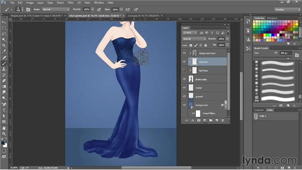Using overlay techniques to add a lace texture: Photoshop for Fashion Design: Rendering Techniques
