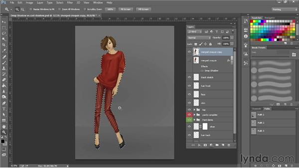 Creating drop shadows vs. cast shadows: Photoshop for Fashion Design: Rendering Techniques