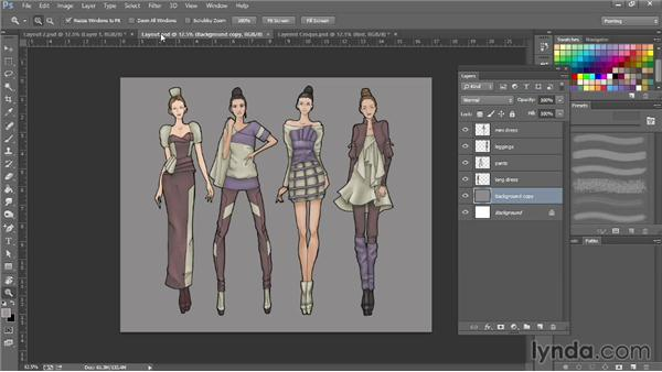 Laying out croquis on boards and creating backgrounds: Photoshop for Fashion Design: Rendering Techniques