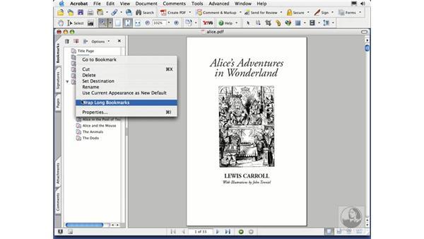 bookmark actions: Acrobat 7 Essential Training