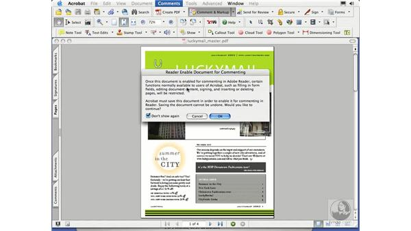 enabling commenting in reader: Acrobat 7 Essential Training