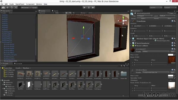 Looking through the glass with a transparent material: Materials and Lighting in Unity