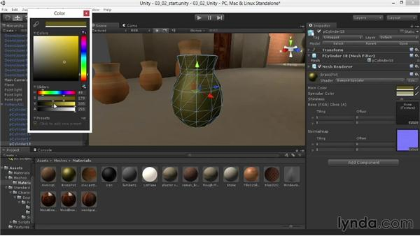 Tinting reflections for bronze and brass: Materials and Lighting in Unity