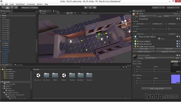 Creating light probes: Materials and Lighting in Unity