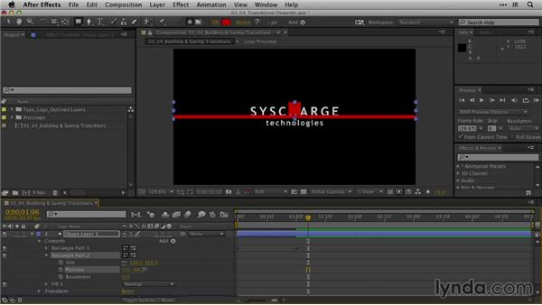 Building and saving transitional elements: After Effects Guru: Animating Logos