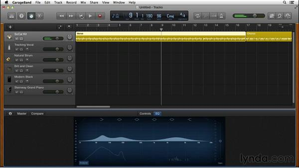 Using the Visual EQ to balance frequencies: GarageBand for Mac New Features