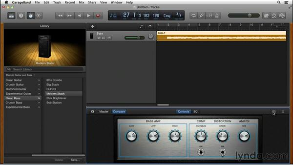 Selecting bass amps: GarageBand for Mac New Features