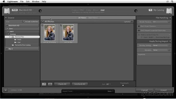 Using the exercise files: Enhancing a Portrait of a Young Woman in Lightroom