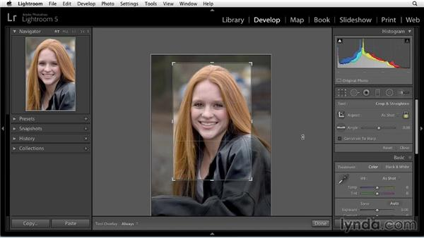 Cropping: Enhancing a Portrait of a Young Woman in Lightroom