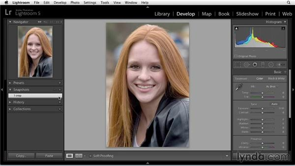 Saving snapshots: Enhancing a Portrait of a Young Woman in Lightroom