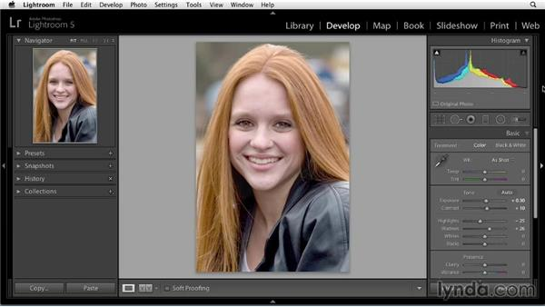 Making basic adjustments: Enhancing a Portrait of a Young Woman in Lightroom