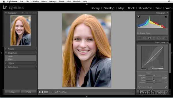 Adding a tone curve: Enhancing a Portrait of a Young Woman in Lightroom
