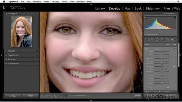 Reducing circles under eyes: Enhancing a Portrait of a Young Woman in Lightroom