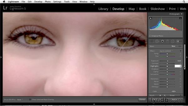 Brightening eyes: Enhancing a Portrait of a Young Woman in Lightroom