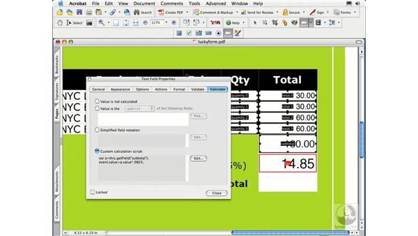 JavaScript calculations: Acrobat 7 Essential Training