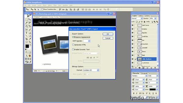 basic SWF export from ImageReady: Photoshop CS and Flash MX 2004 Integration