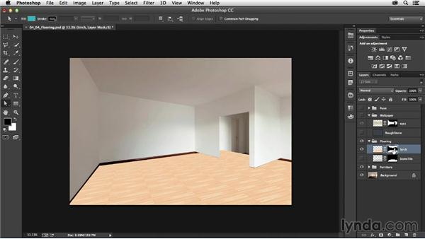 Placing flooring: Photoshop for Interior Design: Living Room Composite