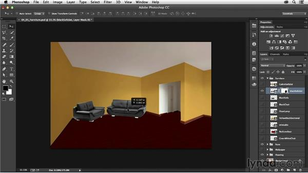 Adding furniture: Photoshop for Interior Design: Living Room Composite
