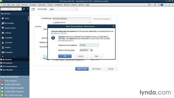 Adding bank accounts and credit cards: QuickBooks Pro 2014 Essential Training