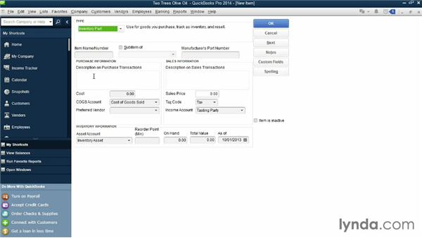Adding service or inventory items: QuickBooks Pro 2014 Essential Training