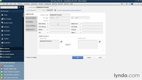 Creating and editing vendors: QuickBooks Pro 2014 Essential Training
