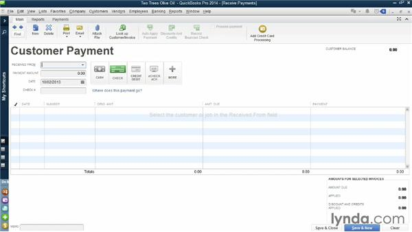 Receiving payments: QuickBooks Pro 2014 Essential Training