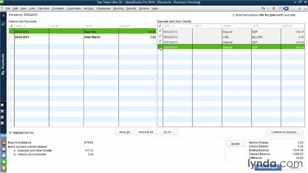 Reconciling bank accounts: QuickBooks Pro 2014 Essential Training