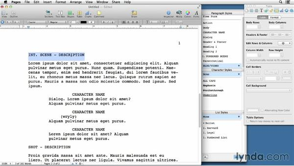 creating a script from a screenplay template in pages