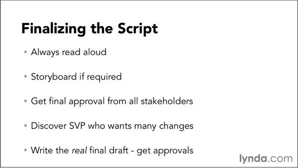 Finalizing the script: Video Script Writing