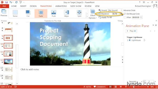 Adding multiple transitions: PowerPoint: From Outline to Presentation