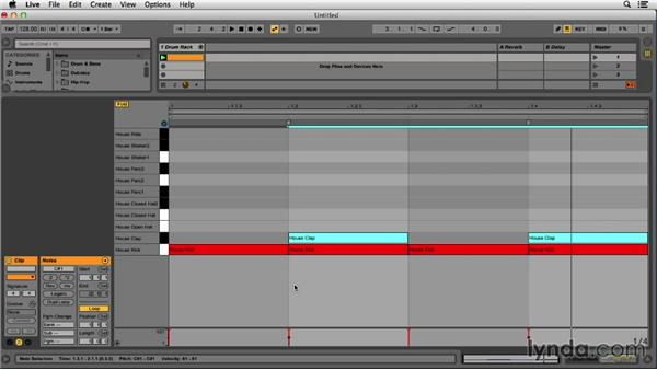 Sequencing the kick, snare, and hats for a house beat: Programming Beats in Ableton Live 9
