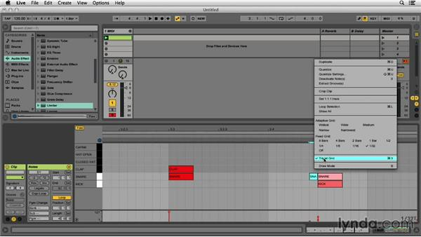 Sequencing the kick, snare, and cymbals for a trap beat: Programming Beats in Ableton Live 9