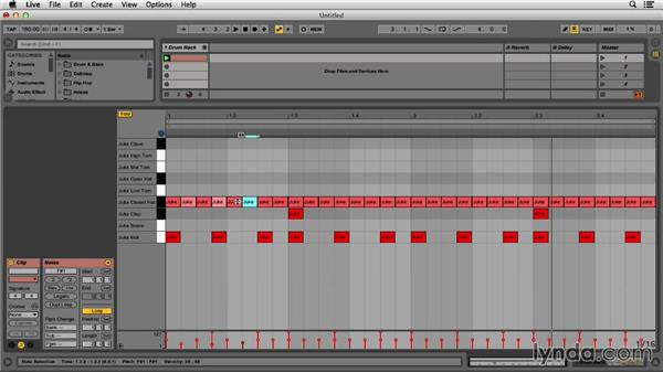 Sequencing the kick, snare, and hats for juke beats: Programming Beats in Ableton Live 9