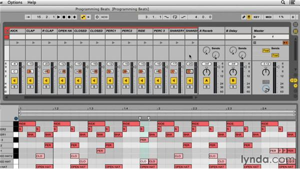 Adjusting levels and panning: Programming Beats in Ableton Live 9