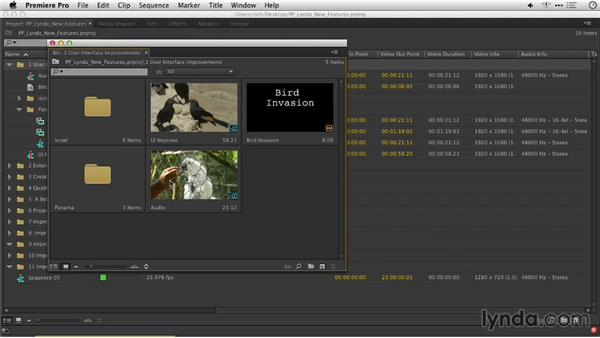 Sequences displayed as thumbnails: Premiere Pro: Creative Cloud Updates
